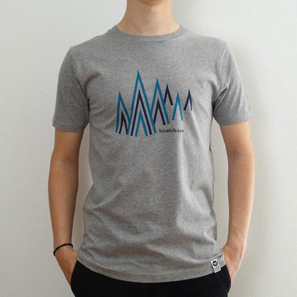 Herren fairtrade T-Shirt Bergwald, graumelange