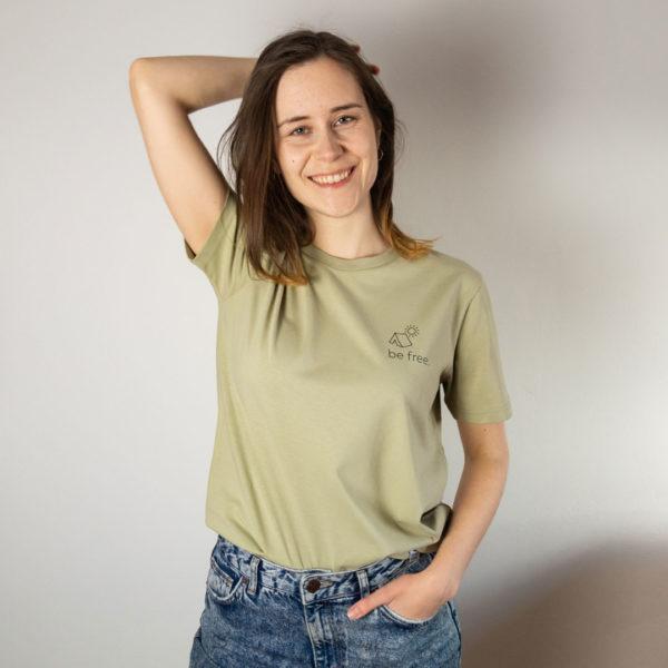 Be Free, Unisex T-Shirt, Farbe Sage